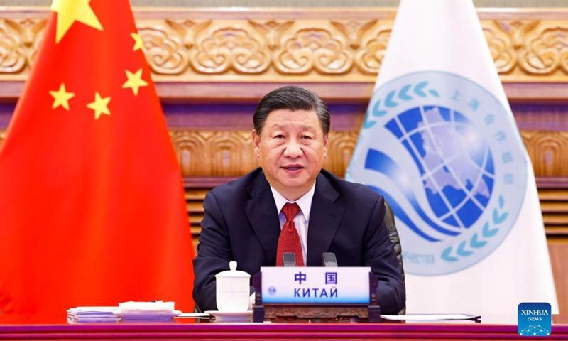 Der chinesische Präsident Xi Jinping spricht per Videolink in Peking, der Hauptstadt Chinas, am 17. September 2021 zur 21. Sitzung des Staatschefs der Shanghaier Organisation für Zusammenarbeit (SCO).
