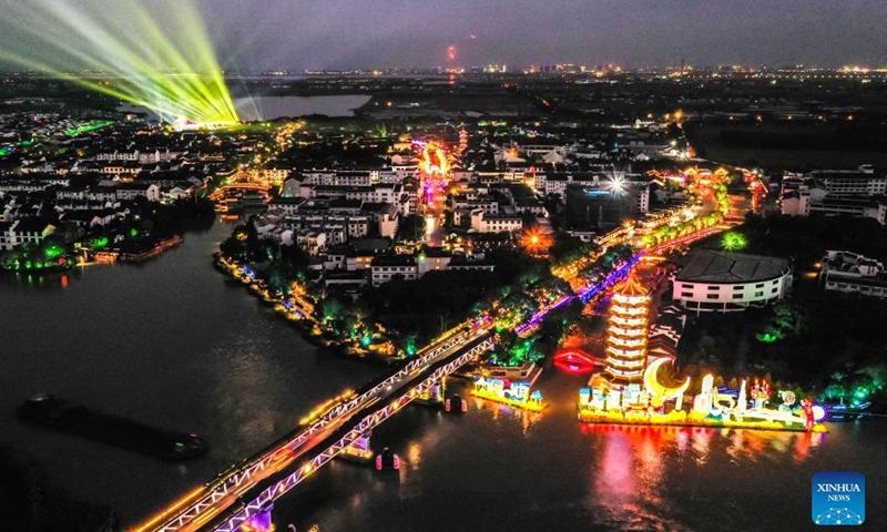 Aerial photo taken on Sept. 16, 2021 shows a lantern fair celebrating the Mid-Autumn Festival in Zhouzhuang Township of Kunshan City, east China's Jiangsu Province.Photo:Xinhua