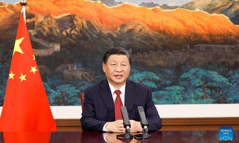 At the invitation of Mexico, the rotating presidency of the Community of Latin American and Caribbean States (CELAC), Chinese President Xi Jinping delivers a video speech to the 6th Summit of Heads of State and Government of the CELAC. The summit was held in Mexico City on Sept. 18, 2021. (Xinhua/Huang Jingwen)