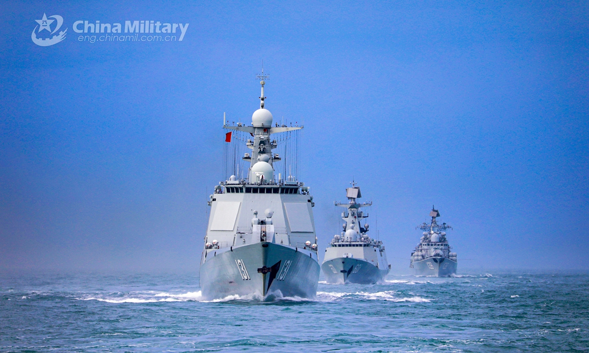 A naval fleet comprised of the guided-missile destroyers Ningbo (Hull 139) and Taiyuan (Hull 131), as well as the guided-missile frigate Nantong (Hull 601), steams in astern formation in waters of the East China Sea during a maritime training drill in late January, 2021.Photo:China Military