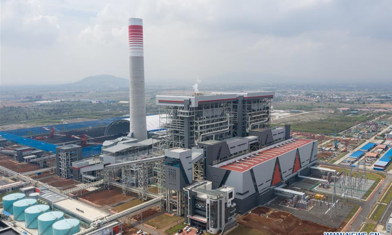 Aerial photo taken on Dec. 13, 2019 shows the power plant PLTU Java 7 in Bojonegara subdistrict of Banten province, Indonesia. Unit 1 of Indonesia's coal-fired power plant PLTU Java 7 developed by a consortium of Chinese and Indonesian companies. Photo: Xinhua