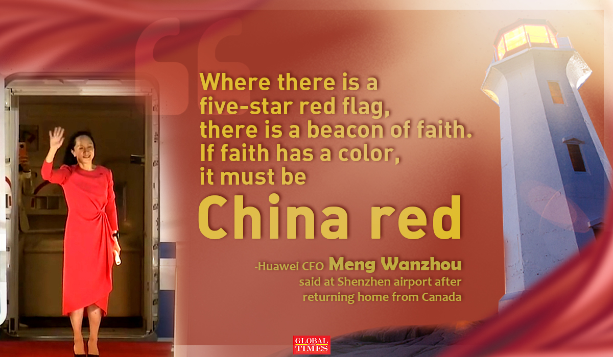 Where there's a five-star red flag, there's a beacon of faith.  If faith has a color, it must be Chinese red.  -Huawei CFO Meng Wanzhou said at Shenzhen Airport after returning from Canada Editor: Yang Ruoyu / GT Graphic: Xu Zihe / GT
