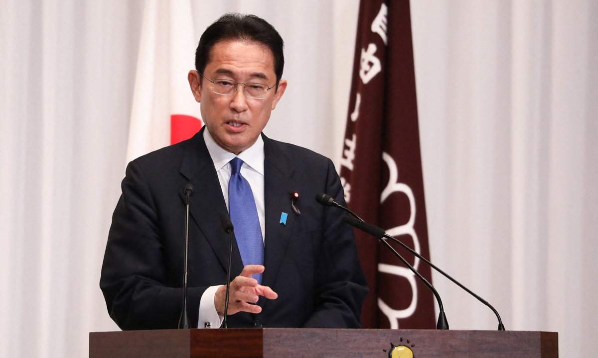 Photo: Fumio Kishida, former foreign minister, speaks during a press conference after being elected as the new leader of the ruling Liberal Democratic Party (LDP), at the LDP headquarters in Tokyo on Wednesday. Photo: AFP