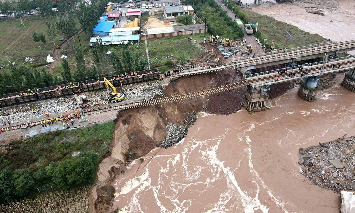 Heavy rain hits N China's Shanxi destroying railways and displacing more  than 20,000 people - Global Times