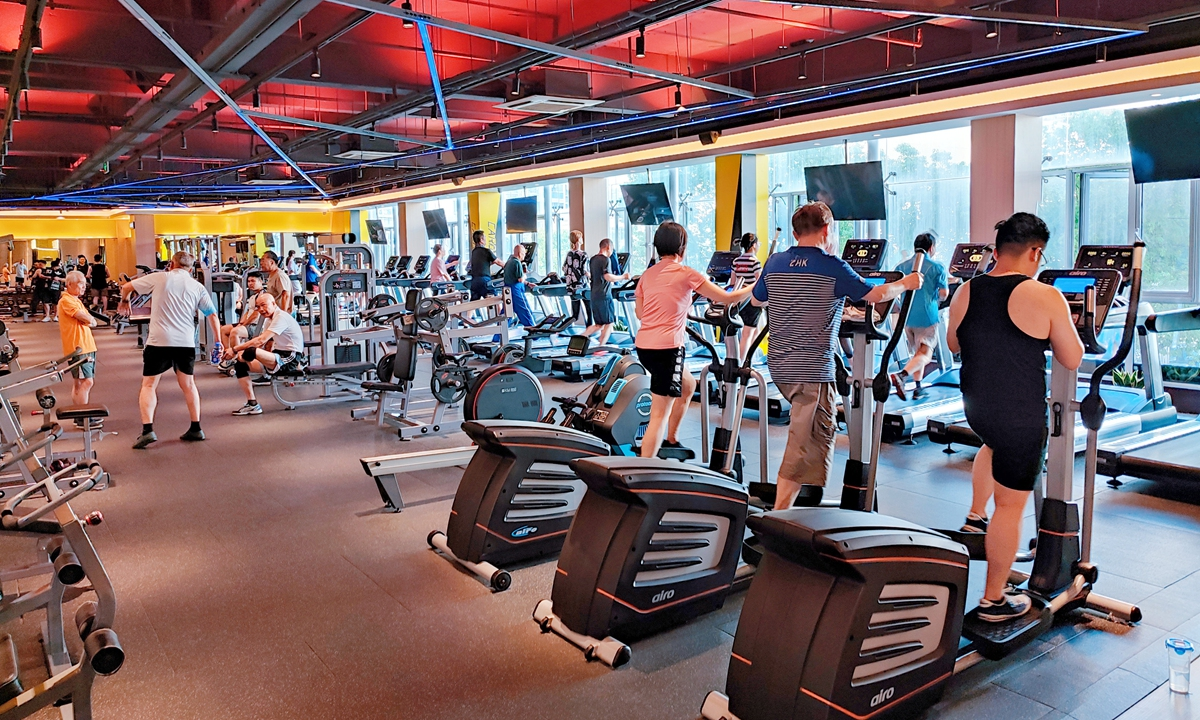 A gym in Shanghai bustling with activity on June 20Photo:VCG