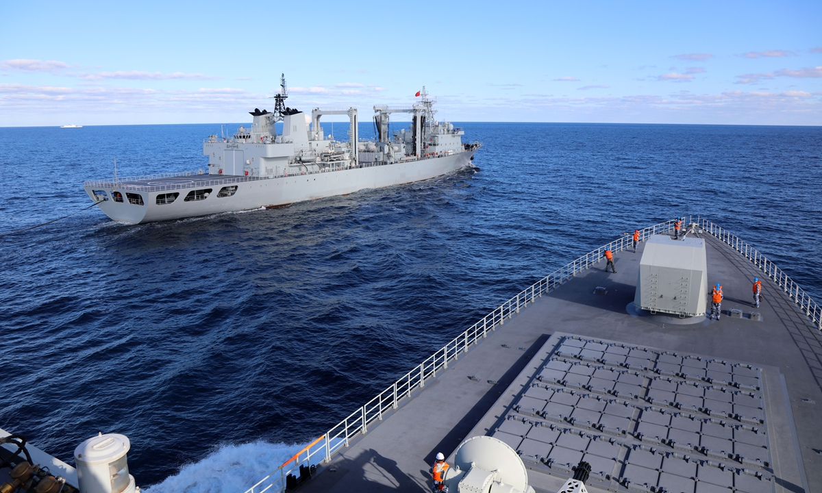 The China-Russia Naval Interaction-2021 maritime military exercise started in waters near Russia's Peter the Great Gulf in the Sea of Japan on Thursday, with the Chinese People's Liberation Army sending advanced warships including the Type 055 large destroyer Nanchang, the Type 052D destroyer Kunming, the Type 054A frigates Binzhou and Liuzhou to join the drill. Photo: VCG