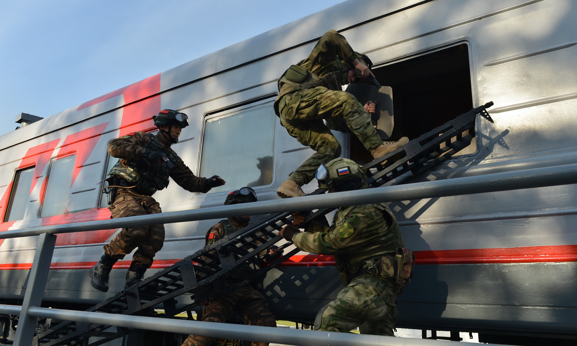 The joint counter-terrorism exercise Cooperation-2019 of the Chinese People's Armed Police Force (PAP) and the Russian National Guard in the suburbs of Novosibirsk in October 2019. Photo: Xinhua