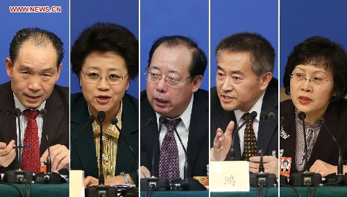 This combined photo shows members of the 12th National Committee of the Chinese People's Political Consultative Conference (CPPCC) (from L to R) Wu Xianning, Jiang Li, Bian Jinping, Shao Hong and Zhen Zhen at a press conference held by the first session of the 12th CPPCC National Committee in Beijing, capital of China, March 8, 2013. They answered questions on improvements in political consultative system. (Xinhua/Wang Shen)