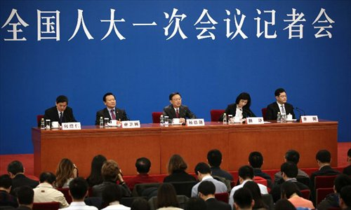 Chinese Foreign Minister Yang Jiechi answers questions during a news conference on the sidelines of the first session of the 12th National People's Congress (NPC) at the Great Hall of the People in Beijing, China, March 9, 2013. Photo: Xinhua